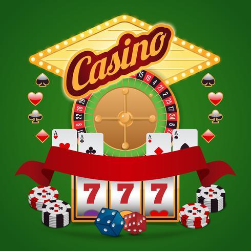 Casino-elementen instellen vector
