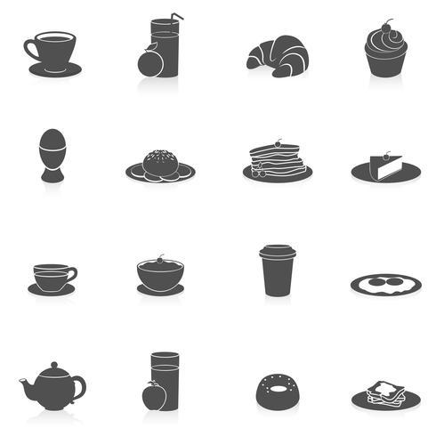 Ontbijt pictogrammen zwart vector