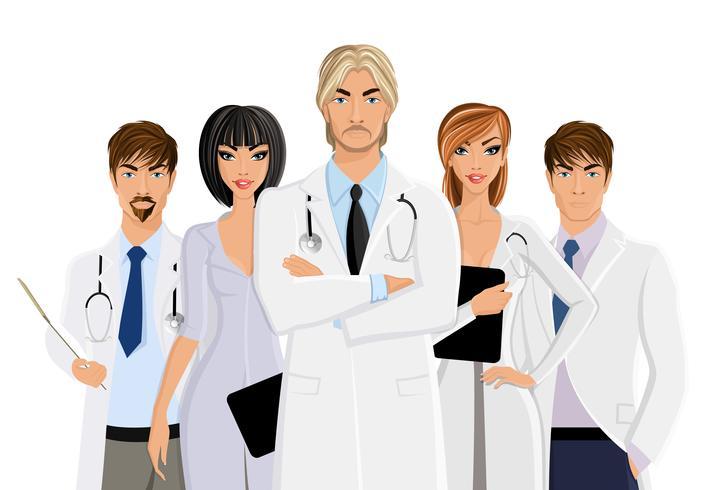 Arts met medisch personeel vector