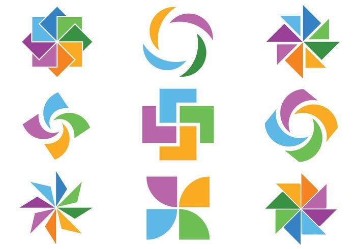 Kleurrijke abstracte pictogram Vector Pack