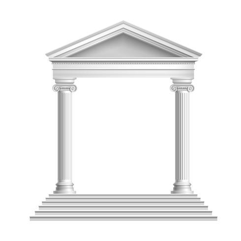 Tempelfront met kolommen vector