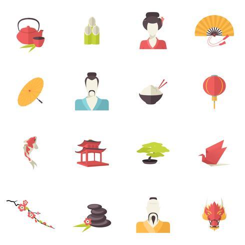 Japan pictogrammen plat vector