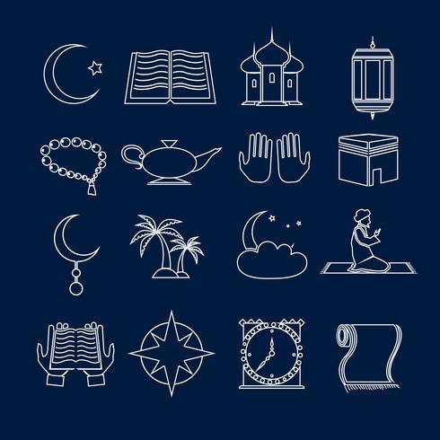 Islam pictogrammen instellen omtrek vector