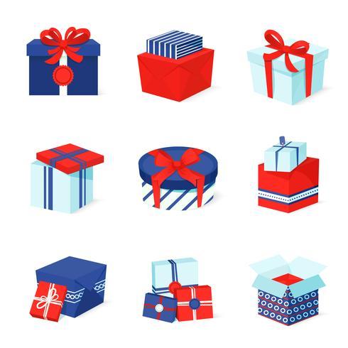 Geschenk box pictogrammen instellen vector