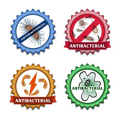 Antibacteriële badges ingesteld vector