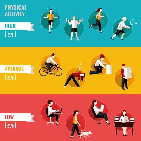 Horizontale banners voor fysieke activiteiten vector
