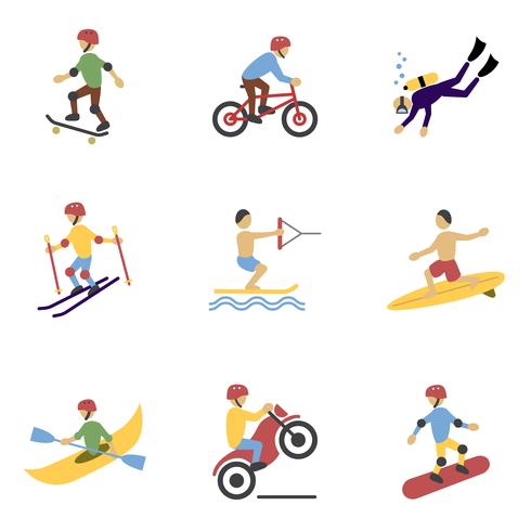 Extreme sporten Icons Set vector