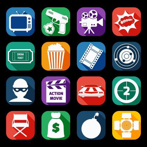 Actie film pictogrammen instellen vector