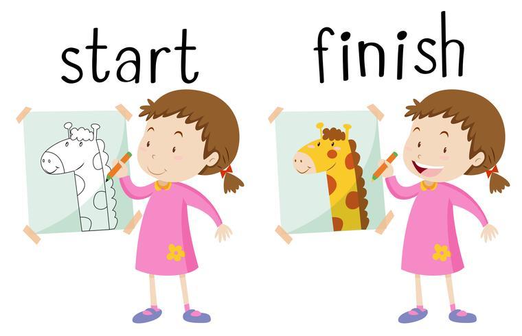 Tegenover de woordkaart voor begin en einde vector