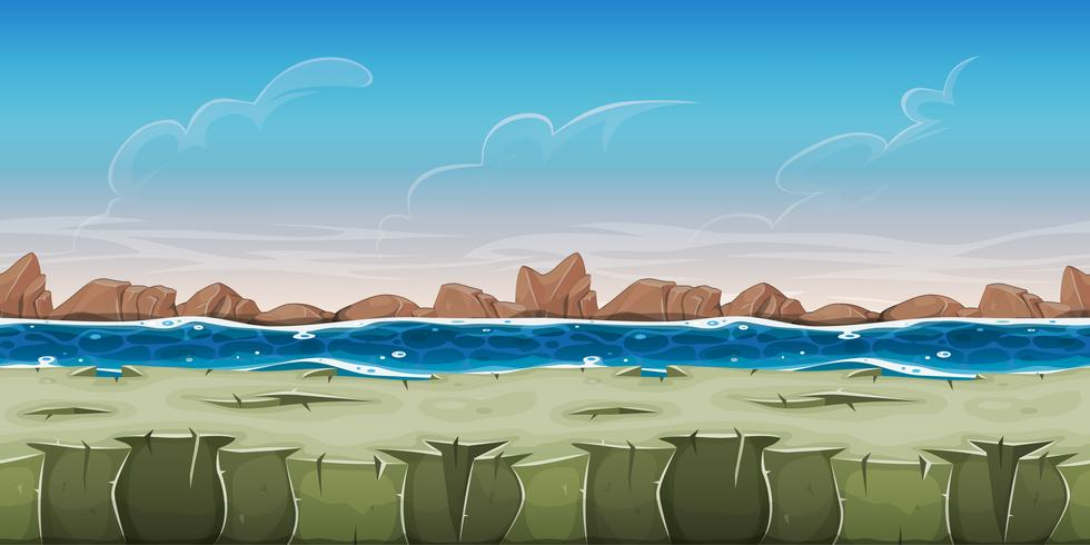 Naadloos oceaanlandschap voor Game Ui vector