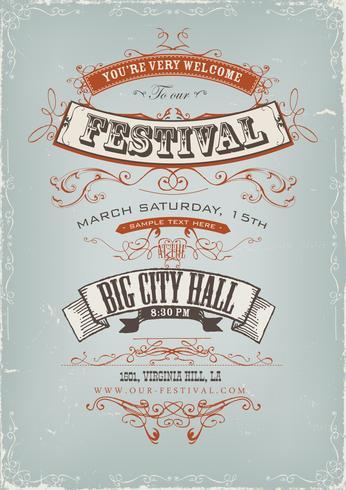 Grunge Festival uitnodiging Poster vector