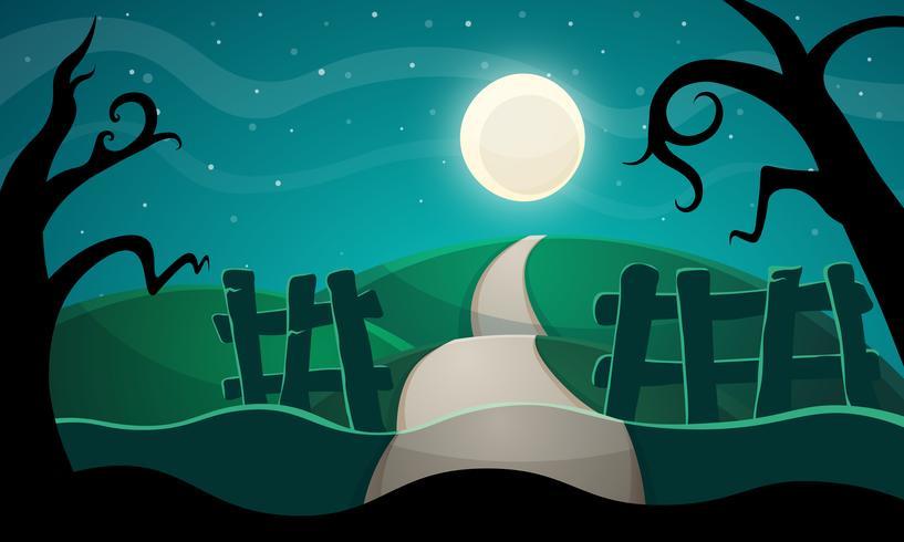 Halloween illustratie. Ster, weg, boom. vector
