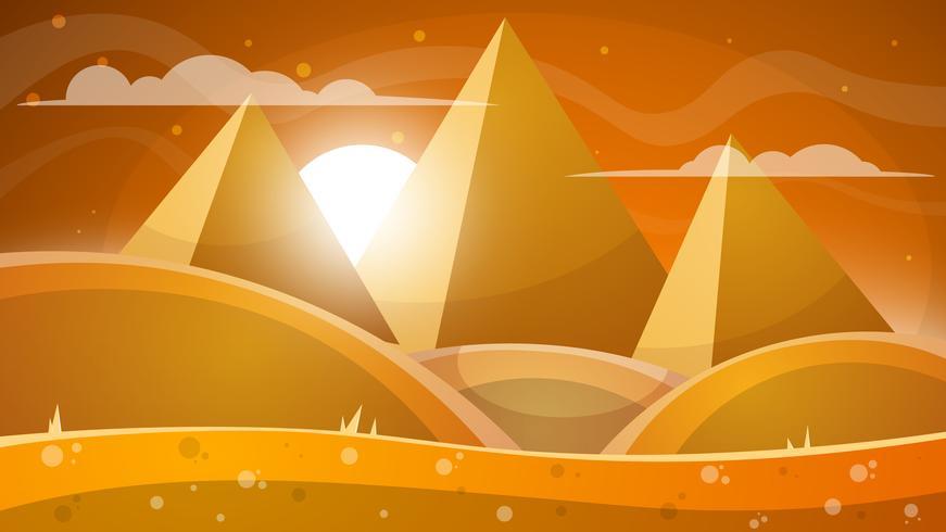 Woestijnlandschap. Piramide en zon. vector