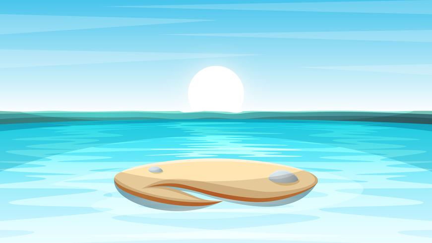 Cartoon eiland landschap illustratie. vector