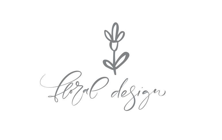 Floral ontwerptekst. Vector trendy Skandinavische hand getrokken schoonheid.
