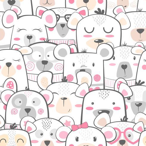 Naadloos patroon - schattige set beer. vector