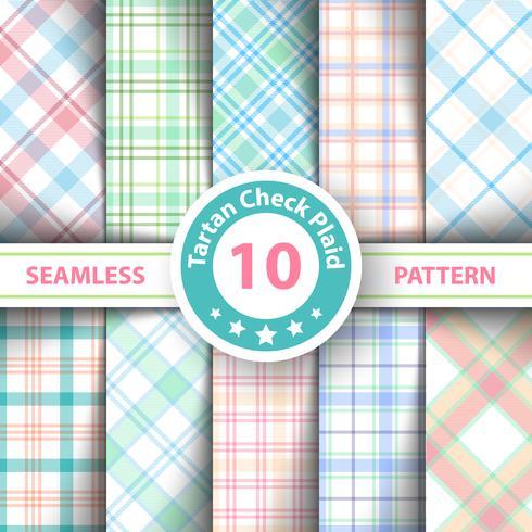 Klassiek tartan, picknickkleed, pastel, buffel, lamberjack, vrolijke geruite ruitpatroon geruite naadloze patronen. vector