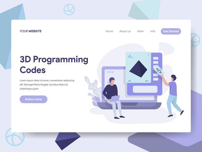 Landingspagina sjabloon van 3d programmeren codes illustratie concept. Isometrisch plat ontwerpconcept webpaginaontwerp voor website en mobiele website Vector illustratie