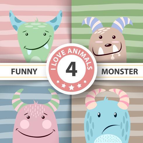 Stel een schattig monster. Vier items. vector