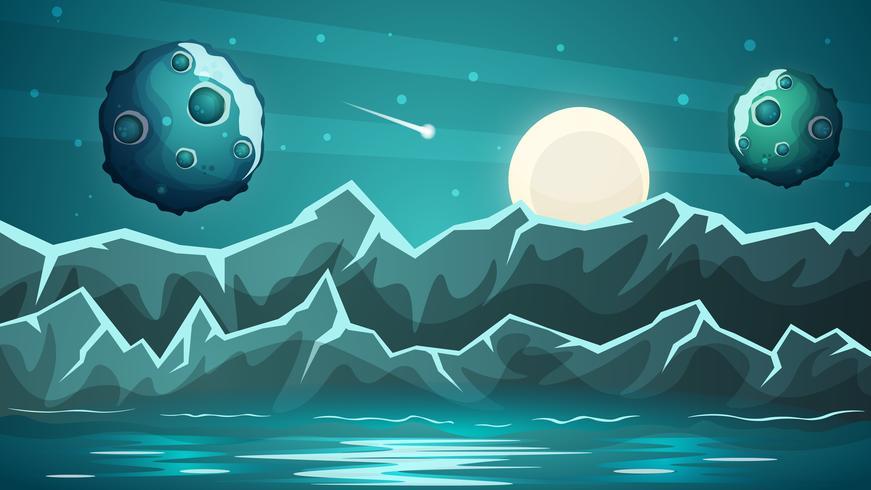 Nachtplaneet, overzees landschap. vector