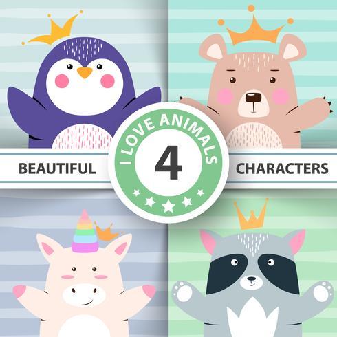 Cartoon set dieren - pinguïn, beer, eenhoorn, wasbeer. vector