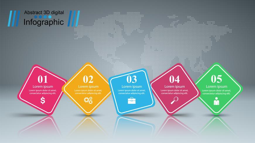 Zakelijke infographic. Vijf papieren items. vector