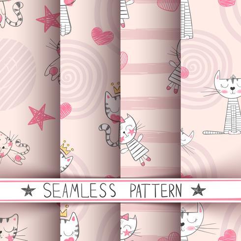 Weinig prinses - kat naadloos patroon vector