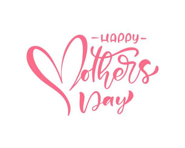 Gelukkige roze de kalligrafietekst van de Moederdag. vector