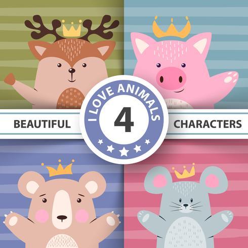 Cartoon set dieren - herten, varken, beer, muis. vector