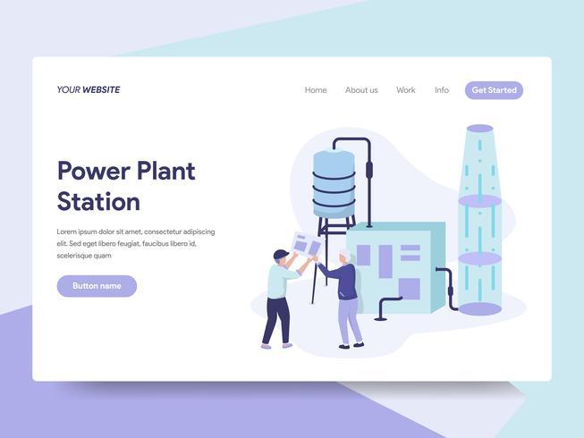 Sjabloon voor bestemmingspagina van Power Plant Station Illustratie Concept. Isometrisch plat ontwerpconcept webpaginaontwerp voor website en mobiele website Vector illustratie