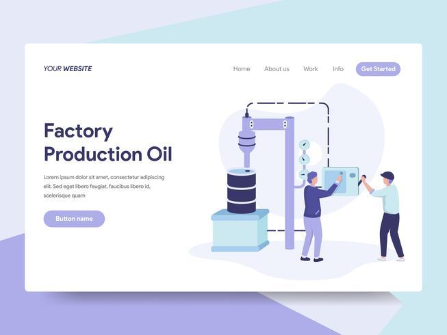 Bestemmingspaginasjabloon van Factory Production Oil Illustration Concept. Isometrisch plat ontwerpconcept webpaginaontwerp voor website en mobiele website Vector illustratie