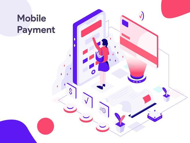 Mobiele marketing isometrische illustratie. Moderne platte ontwerpstijl voor website en mobiele website. Vectorillustratie vector