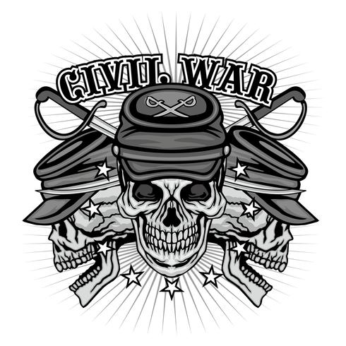 burgeroorlog embleem met schedel vector