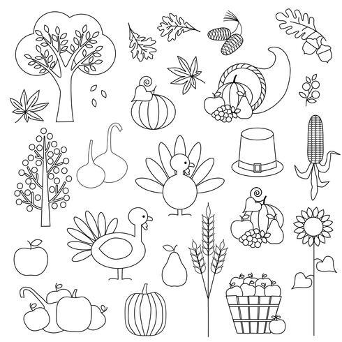 Thanksgiving digitale postzegels Clipart vector
