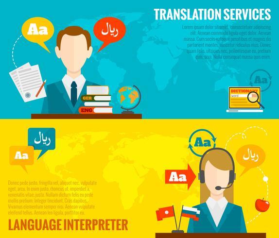 Vertaal- en woordenboekbanners instellen plat vector