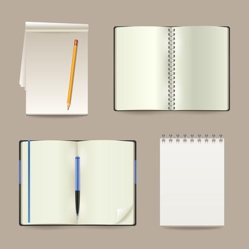 Notebook realistische set vector