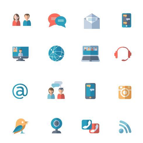 Sociale netwerken pictogrammen instellen vector