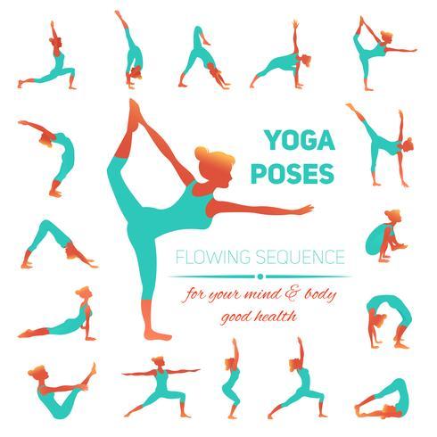 Yoga houd pictogrammen vector