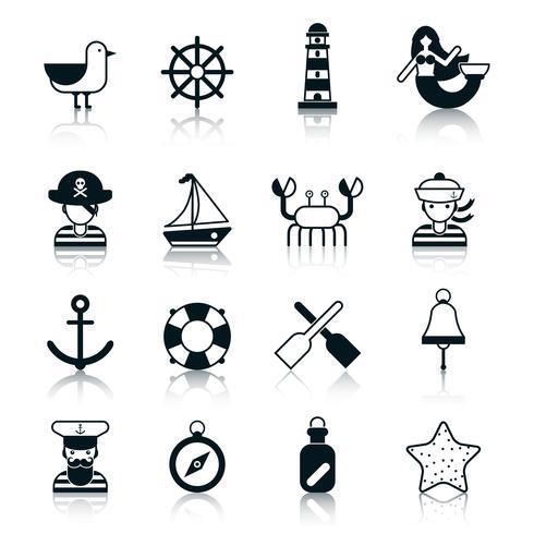 Nautische pictogrammen zwart vector