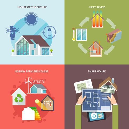 Energiebesparende huis flat vector