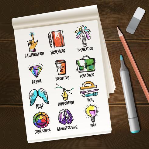 Notebook met creatieve processchetsen vector