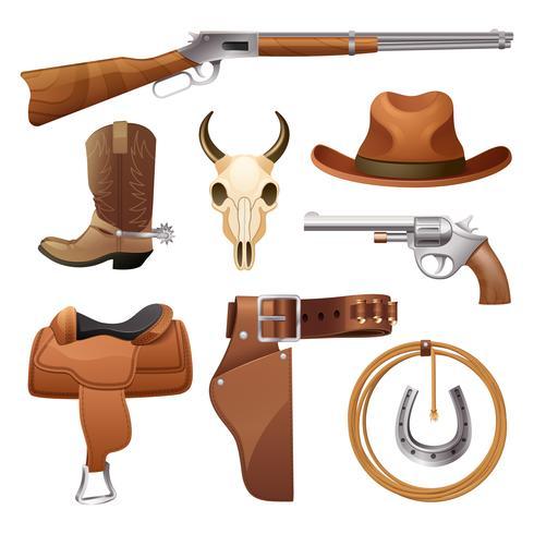 Cowboy elementen instellen vector