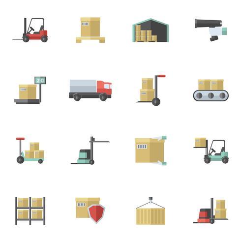 Magazijn pictogrammen platte Set vector
