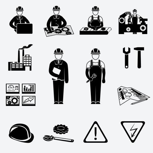 Engineering pictogrammen instellen vector