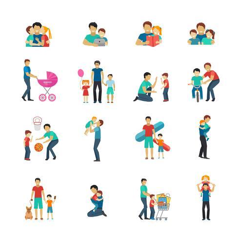 Vaderschap vlakke pictogrammen vector