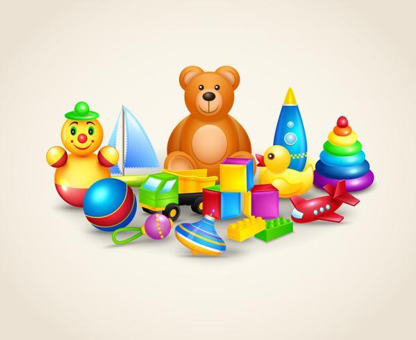 Samenstelling van kinderen speelgoed vector