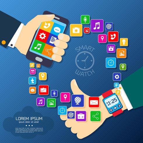 Slimme horloge synchro-poster vector