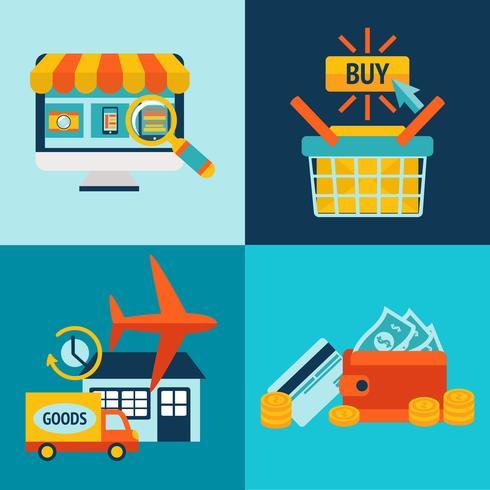 Online winkelen Zakelijke Icons Set vector