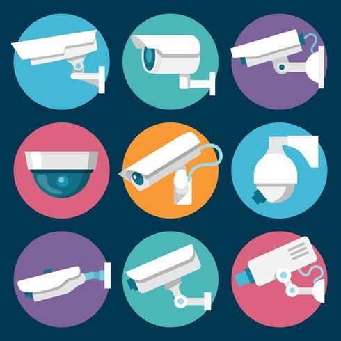 Beveiligingscamera's Icons Set vector