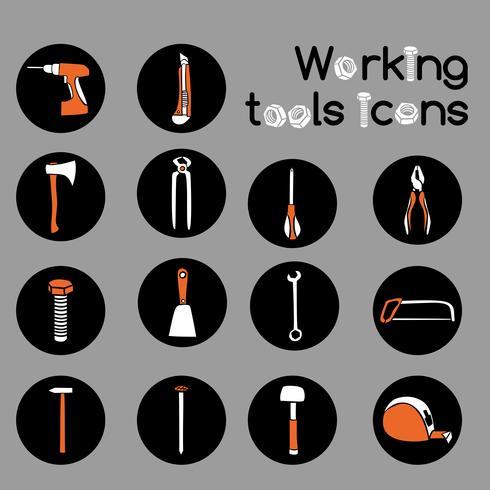 Timmerman werkende hulpmiddelen Icons Set vector
